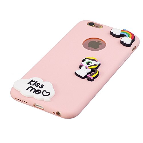 Cover iPhone 6 plus Custodia iPhone 6s plus Silicone Anfire Morbido Flessibile Trasparente Gel TPU Case Cover per iPhone 6 plus / 6s plus (5.5 Pollici) Ultra Sottile Liscio Opaco Antiurto Protettivo B Rosa