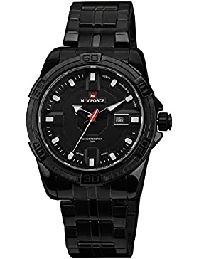 Herren Uhr Quarz Armbanduhr KZKR Analog Quarz Datum Edelstahl Armband Uhr Alle Schwarz Cool Stil männer Uhr Herrenuhr...
