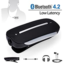 Avantree aptx Receptor Bluetooth de BAJA LATENCIA para Auriculares, Adaptador Inalámbrico de Audio para Auriculares con cable 3,5mm, Con Micrófono para Llamar y Escuchar Música – Clipper Pro