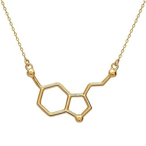 Serotonin Molekül Anhänger Halskette mit Silbertönung by Serebra Jewelry (Männer Nerd Outfits Für)