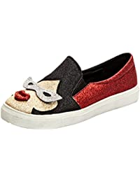 SHOWHOW Damen Flach Plaeau Paillette Slipper Loafers Sneakers Schwarz 43 EU