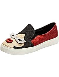 SHOWHOW Damen Flach Glitzer Paillette Mädchen Sneakers Slipper Rot 40 EU