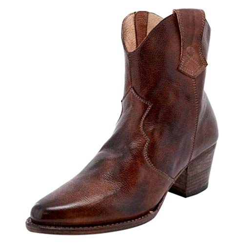 DEELIN Stiefeletten Damen Leder mit Absatz High Heels Square Stiefel Boots Knöchel Knie Seite Zip Short Booties -