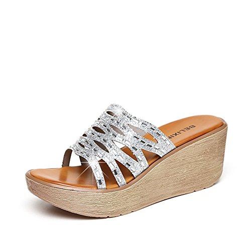 Modo di estate che porta lle pantofole inferiori spesse/Sandali anti-frane e strass B
