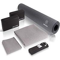 vierteiliges Set roten Flaum. Dehnen Werkzeuge SmartRing Yoga-Set