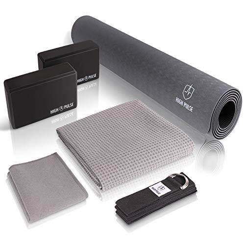 High Pulse® Yoga Set (6 TLG.) mit Yogamatte, 2 Yoga Blöcke, Yogagurt, Yogatuch mit Antirutsch-Noppen und extra Handtuch - Praktisches Yoga-Set für Anfänger und erfahrene Yogis