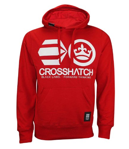Cross Hatch da uomo con cappuccio e logo stampato, Cardigan Top-Felpa con cappuccio Adds wood-Risk Red