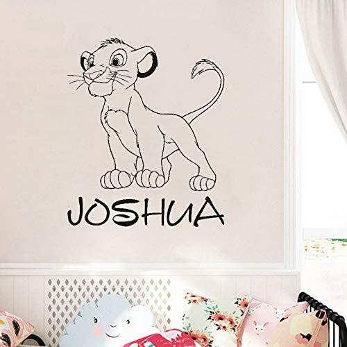 ljradj Benutzerdefinierte Name Simba Wall Decal personalisierte Aufkleber Lion King Art Dekorationen für zu Hause Teen für Kinder Jungen Schlafzimmer Kindergarten 70 x 58 cm (Strike Sonnenbrille King)
