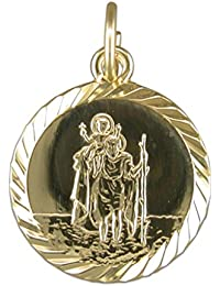 Mens 9ct Gold Round Medium Diamond Cut St Christopher Pendant On A Curb Necklace