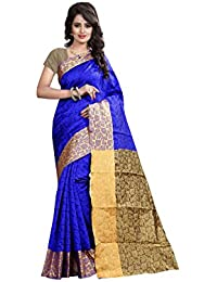 Rajeshwar Fashion Women's Silk Saree (Coffee Silk Blue_Blue)