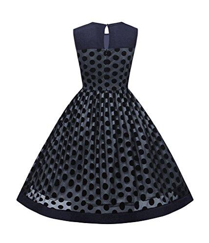 Smile YKK Robe Princesse Femme Tulle Sans Manche Col Rond Casual Eté Pois Imprimé Vintage Bleu Foncé