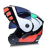 DanNN Moto Full Face ECE Casque-YEMA YM-829 Racing Casque Moto avec visière Solaire,Multicolor,XL