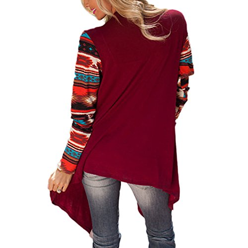 Cardigan Gilet Femme JLTPH Manches Longues AsymétriqueGéométrique ImpriméManteau Veste en Tricot Motif Ouvert Fluide Jaquette Kimono Top color4