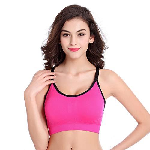 HULKY Damen Bodybuilding-Sport-BH Frauen Fitness Stretch Training Tank Top Nahtlose Gepolsterte Ohne Bügel Atmungsaktiv Sxey Yoga BH(Helles Rosa,M)