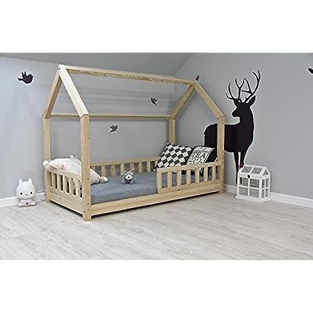 Best For Kids Kinderbett Kinderhaus mit Rausfallschutz Jugendbett Natur Haus Holz Bett mit oder ohne 10 cm Matratze viele Größen