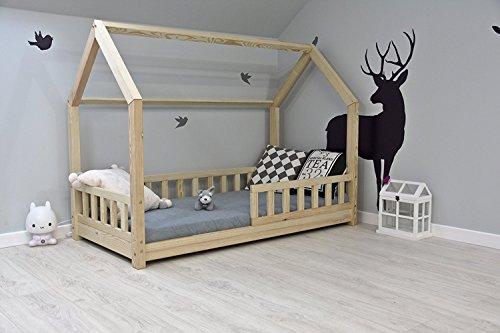 bett Kinderhaus mit Rausfallschutz Jugendbett Natur Haus Holz Bett mit oder ohne 10 cm Matratze in 8 Größen (80x160 mit Matratze) ()