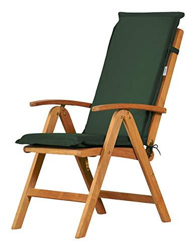 Kai Wiechmann 4er Set! Auflage für Hochlehner aus lichtechtem Dralon 117 x 47 cm maschinenwaschbar (grün dunkelgrün), Polster für Gartenstuhl Klappsessel