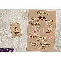 Partecipazioni matrimonio personalizzate - inviti nozze con uccellini shabby chic carta kraft disponibile in tutti i colori 10 pezzi