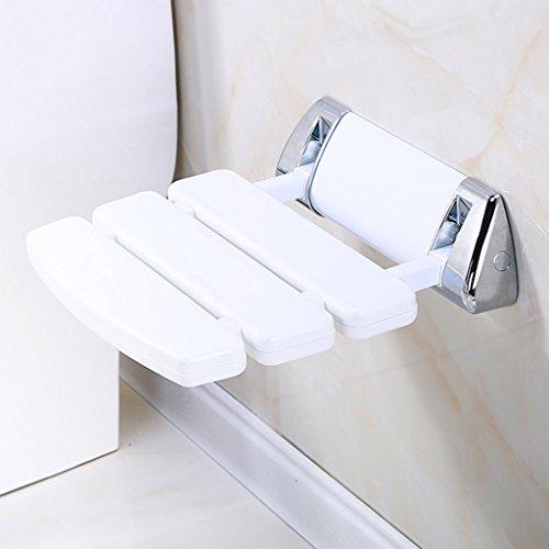 CCJW An der Wand befestigter Bad-Schemel-Duschen-Bank-ändernder Schuh-Schemel-Rutschfester faltender Gang-Stuhl-Badezimmer-Toiletten-Dusche-Sitz Stuhl-Weiß, 33.8 * 34.8 * 10cm -