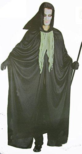 hwarz-zerfetztes Hexer-Verkleidung Sensen-mann Gewand Umhang Gr. 52 / 54 Cape Herren Damen Fasching Halloween Karneval Horror (Tod Krieger Kostüm)