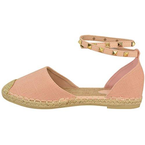 Damen Stiefeletten Riemenchen Flach Sandalen Sommer Espadrille Rock Stecker Schuh Größe Pastellrosa Hessisch