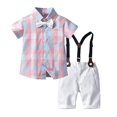 Plaid-wolle-hosen (Baby Set Hose Kleinkind Gentleman Fliege Plaid T-Shirt Tops + Shorts Overalls Outfits)