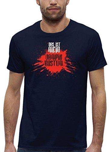 Fasching Karneval Premium Herren T-Shirt Bio Baumwolle Das ist mein Vampir Kostüm 2 Navy
