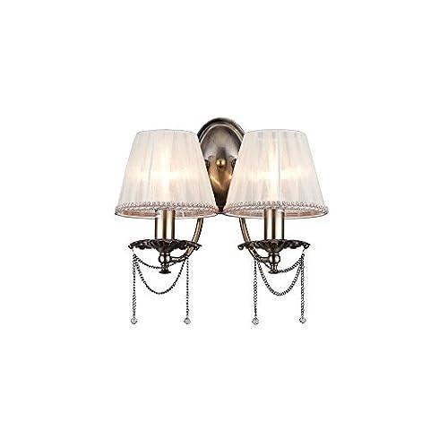 Antike klassische Wandleuchte 2-flammig, Messing Metall Farbe, klare Kristalltropfen, beige Organzaschirme, Landhausstil, exkl. E14 2x 40W 220V