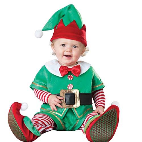 JEELINBORE Baby Jungen Mädchen Weihnachten Strampler Elfen Kostüm Langarm Bodysuit Overall Fancy Dress Xmas Outfit - Elf, 90 (Für höhe 86-95cm) (Kinder Santa's Helfer Kostüm)