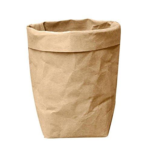 Rameng Réutilisable Sac en Papier Kraft Pliable Panier de Fleur Panier de Rangement pour Jouets/Vêtement / Livres (Marron, 8x 8 x 15cm)