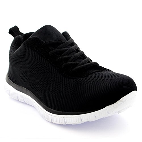 Womens Get Fit Mesh Running Trainers Athletic Walk Gym Shoes Sport Run - Black/White - 6 - 39 - CD0048