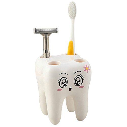 towomo Cartoon Zahnbürstenhalter für Kinder (Zahn Form, weiß)