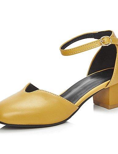 LFNLYX Scarpe Donna-Sandali-Ufficio e lavoro / Formale / Casual-D'Orsay / Punta squadrata / Chiusa-Quadrato-PU-Nero / Giallo / Bianco Yellow