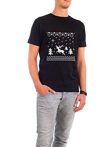 "Design T-Shirt Männer Continental Cotton ""Christmas Deer"" - stylisches Shirt Tiere Geometrie Kindermotive Weihnachten von Pascal Deckarm Schwarz"
