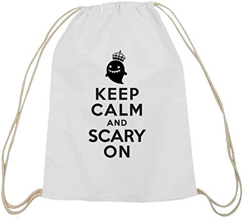 Shirtstreet24, Halloween - Keep Calm And Scary On, Baumwoll natur Turnbeutel Rucksack Sport Beutel weiß natur