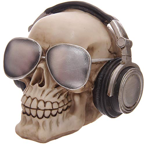 CUNQIKUN Ornament Abbildung Bank Skull Spardose Mit Kopfhörer Sonnenbrille Geschenk Für Skull