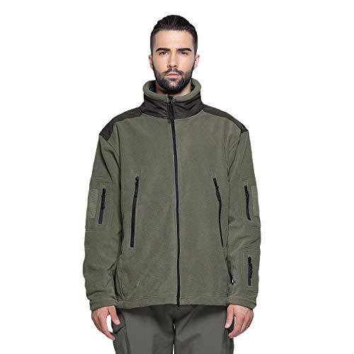 HAINE Men's Windproof Stand-up Collar Fleece Jacket with Zip Pockets Men Recon Combat Green Medium Air Jacket Liner