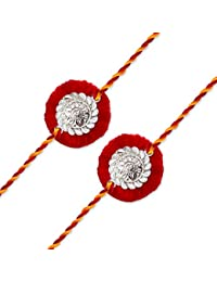 Milan Jewellers 99.5% Fine Silver Certified Best Rakhi For Men/Boys - Pack Of 2 (Multi-Colour)
