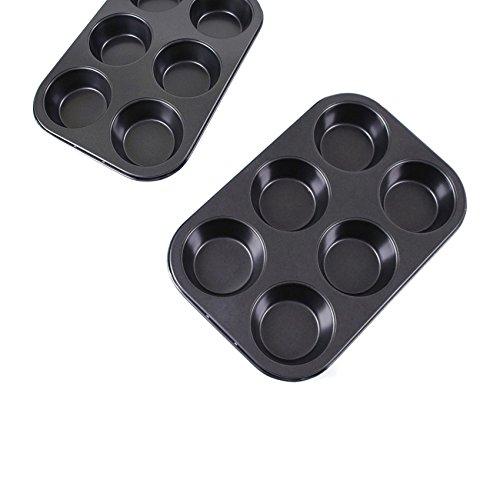 HornTide Non-Stick Bakeware 10-inch 6-Serving Kuchen und Muffin Pan Normale Größe Packung mit 2-teilig Schwarz Serving Pan