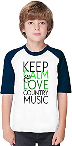 Keep Calm And Love Country Music Funny Slogan Soft Material Baseball Kids T-Shirt by Benito Clothing - 100% Organic, Hypoallergenic Cotton- Casual & Sports Wear - Unisex for Boys and Girls 9-11 years
