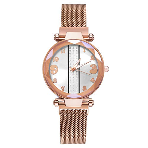 Plot Uhr für Damen, | Magnetschnalle Damen Armbanduhr | | Sternenhimmel Mosaik Diamant Zifferblatt Uhren | | Kreatives | 1.6cm Bandbreite | Durchmesser 3.3cm | (E) -
