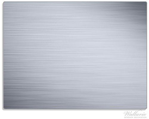 Wallario Stilvolle Glasunterlage / Schneidebrett aus Glas, Aluminium-Optik Metall-Optik Streifen, Größe 30 x 40 cm, kratzfest, aus Sicherheitsglas