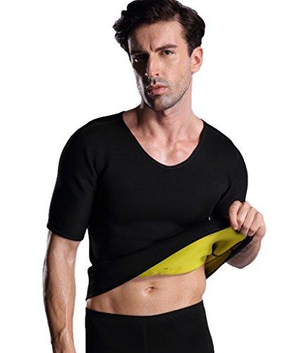 Valentina Herren Hot Sweat Body Shaper T Shirt Bauch Fat Burner Slimming Sauna Shirts Gewicht Verlust-Schwarz, Herren, schwarz