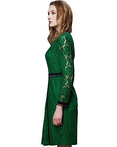 ASCHOEN Damen Spitzenkleid Abendkleid Vintage Off Schulter Knielang ...