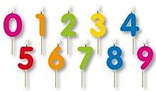 Folat Lot de 10 Bougies Multicolores sur pic en Bois avec Dents 0-9 Petits Pique-niques pour gâteaux o