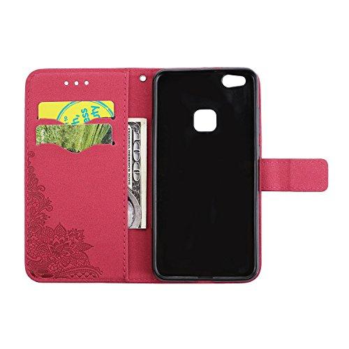 Phenix Blumen Prägemuster Faux Leder Horiontal Folio Stand Case mit Lanyard Card Slots für Huawei P10 Lite ( Color : Green ) Red