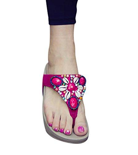 CHENGYANG Donna Spiaggia di Sabbia Infradito Antiscivolo Sandali Casuale Flip Flops Scarpe Zeppe Rose
