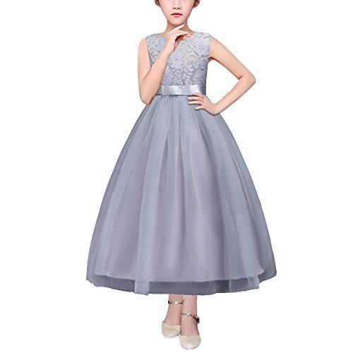 Mädchen Kleider Prinzessin Hochzeit Abendkleid Kinder mit Schleife Spitzen