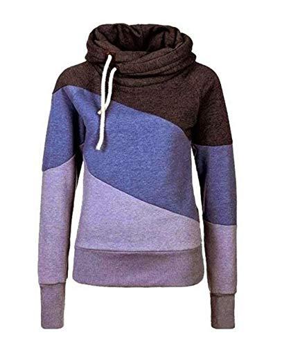 Keephen Frauen Casual Colorblock Kordelzug High Neck Kapuzenpullover High Neck Warm Sweatshirt Große Größe Hoodies
