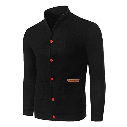 Preisvergleich Produktbild Herren Strickjacke, Kaiki TOP Fashion Mens Slim Designed Button Cardigan Mantel Jacke Bluse (M, Black)